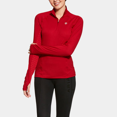 Lowell 1/4 Zip Ladies Baselayer - Laylow Red