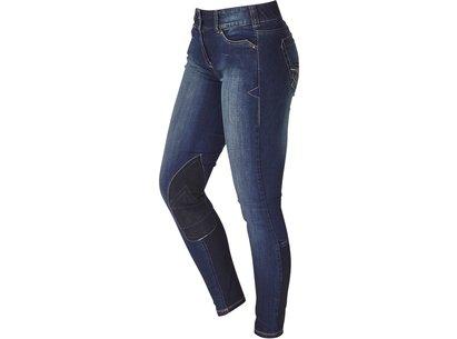 Knee Grip Ladies Riding Jeans - Denim Blue