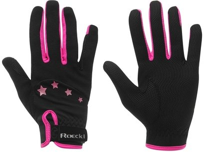 Roeckl Toronto Junior Riding Gloves - Black/Pink