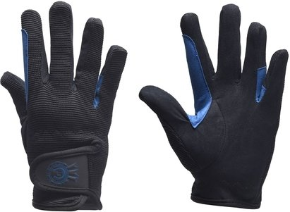 Just Togs Rosette Junior Riding Gloves - Black/Royal