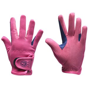 Just Togs Rosette Junior Riding Gloves - Pink/Navy