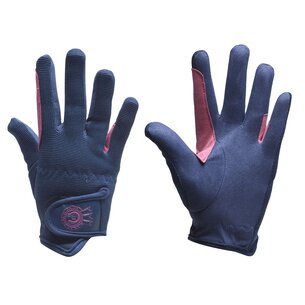 Just Togs Rosette Junior Riding Gloves - Navy/Pink