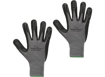 Horseware Coated Dot Grip Gloves - Grey/Black