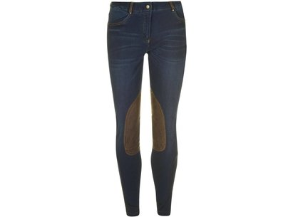Dublin Shona Ladies Knee Patch Denim Breeches - Blue Denim