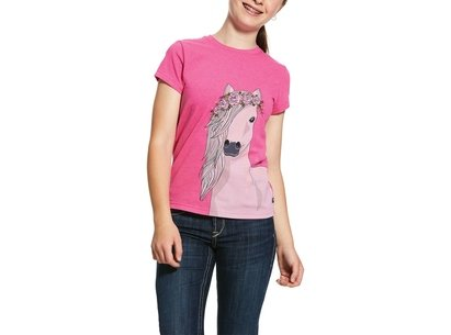 Ariat Festival Horse Girls T-Shirt - Beet Pink Heather