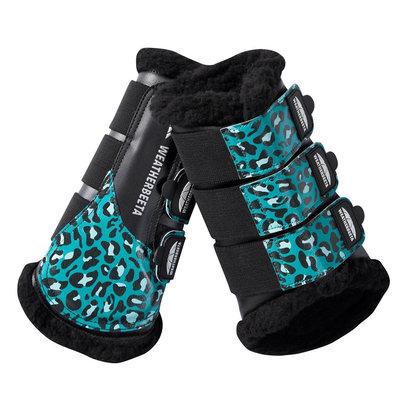 Weatherbeeta Leopard Brushing Boots - Turquoise Leopard