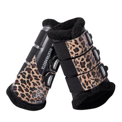 Weatherbeeta Leopard Brushing Boots - Brown Leopard