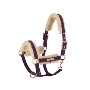 Eskadron Doublepin Softshell Faux Fur Headcollar - Deep Berry