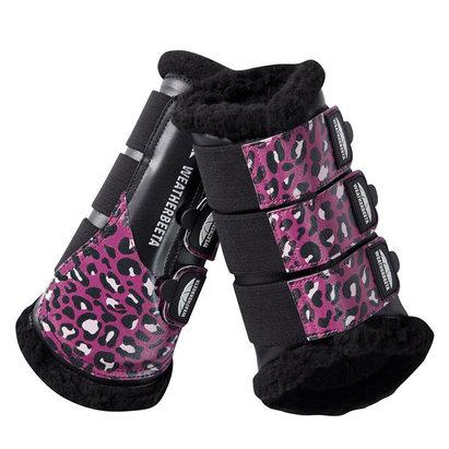 Weatherbeeta Leopard Brushing Boots - Pink Leopard