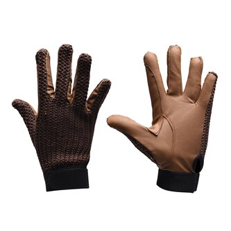 Crochet Ladies Gloves - Brown/Tan