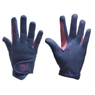 Rosette Junior Riding Gloves - Navy/Pink