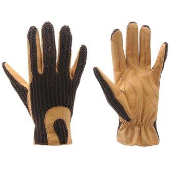 Crochet Gloves Ladies - Brown/Tan