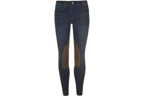 Shona Ladies Knee Patch Denim Breeches - Blue Denim