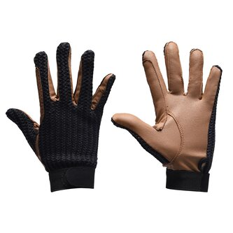 Crochet Ladies Gloves - Black/Tan