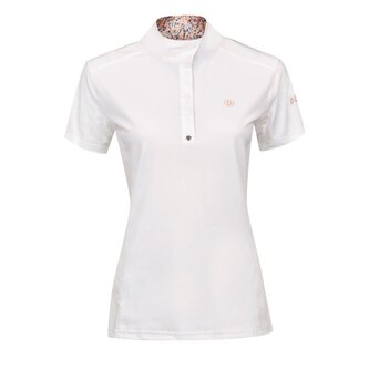 Ladies Andrea Short Sleeve Competition Printed Inner Collar Shirt - White/Salmon