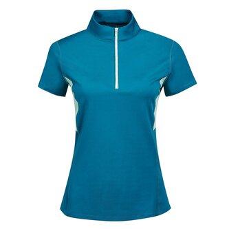 Ladies Blaze 1.4 Zip Short Sleeve Tech Training Top - Blue Lagoon