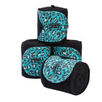 Leopard Fleece Bandage 4 Pack - Turquoise Leopard