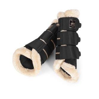Mesh Faux Fur Tendon Boots - Black