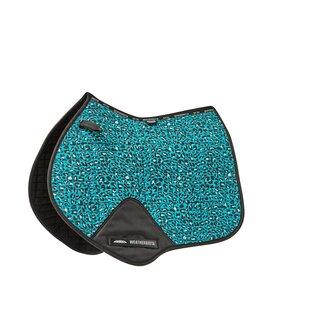 Prime Leopard Jump Shape Saddle Pad - Turquoise Leopard
