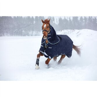 Duo 100g Turnout Rug With 300g Liner - Navy, Baby Blue & Brown